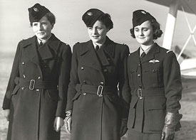Female ATA ferry pilots: Honourable Mrs Fairweather, Mona Friedlander and Joan Hughes.