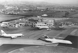 Taken in 1968, this photo shows the first generation of jets which could whisk holidaymakers to the Costas in two and a half hours. The Dan Air DC3 on the left was registered GAMPP and took business men on an inter city scheduled service route.