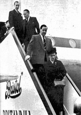The Duchess of Kent, who opened the airport, descending the steps from the Britannia.