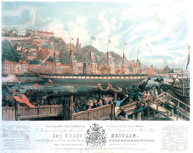 Print depicting the launch of ss Great Britain at Bristol, 1843 (ss Great Britain Trust).