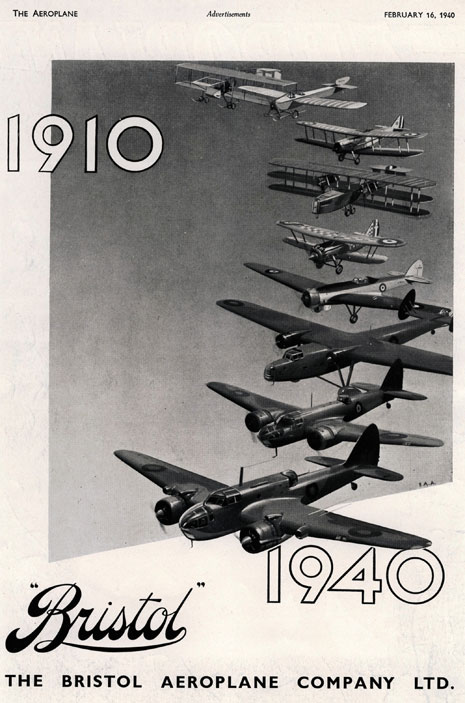 This advertisement was made to celebrate Bristol Aeroplane Company's 30th birthday in 1940.
