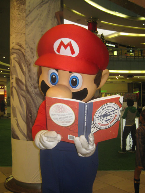 Super Mario reading the book in Johannesburg, South Africa.