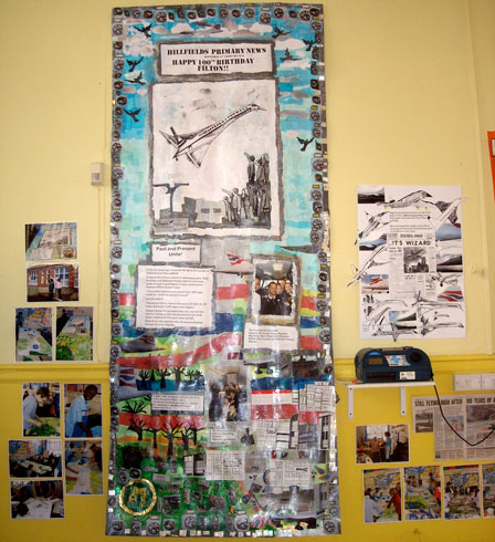 Here is the collage on display in the school hall.