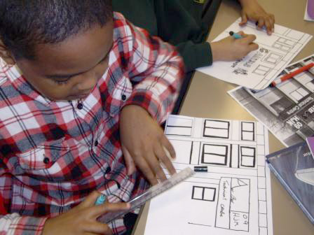 The children drew pictures of some of the buildings they saw around the Concorde museum to add to the collage.