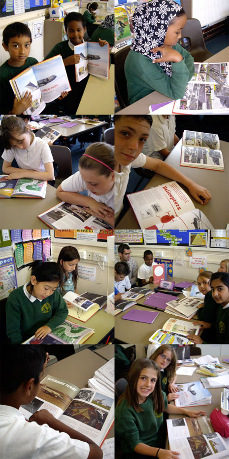 The pupils in Year 5 were photographed looking at their favourite pages in The 2010 Book of Aviation Wonder.