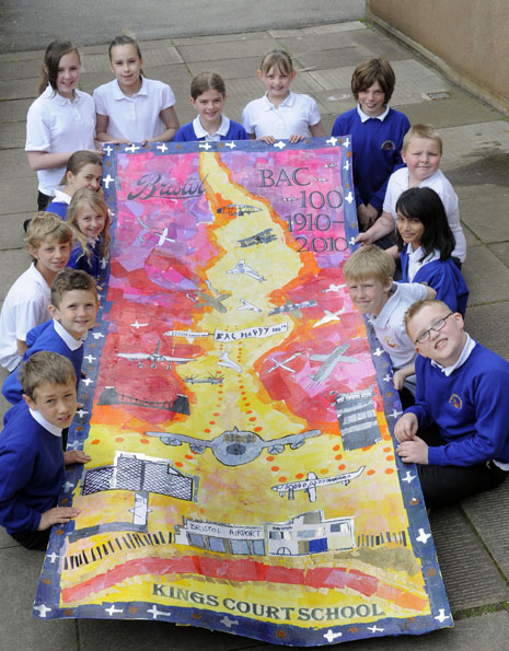 Here are the Year 5 pupils photographed with their finished collage.