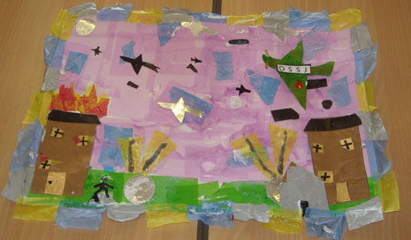 In May a mixed group of Year 4 and 5 pupils had a half-day BAC 100 collage-making workshop.