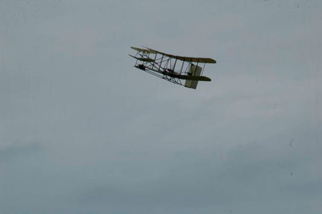 The Wright Flyer substitute in flight.