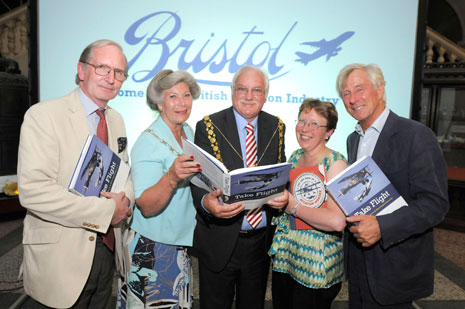 Sir George White, Cllr Janet Biggin (Chairman of South Gloucestershire Council), Cllr Colin Smith (Lord Mayor of Bristol), Mel Kelly (BAC 100) and Sam Hunt (Heritage Lottery Fund, which has funded The 2010 Book of Aviation Wonder).