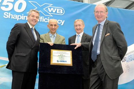 Sir Peter Westmacott, the UK Ambassador to France, (left), Louis Gallois, chief executive officer of EADS, Airbus' parent company, Neil Scott and Sir George White after unveiling the plaque to officially open the A350 XWB landing gear systems test facility at Filton. (photo credit: Airbus/ Martin Chainey).