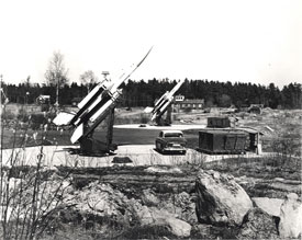 Bristol/Ferranti Bloodhound I surface to air guided weapons on their launchers at a Royal Swedish Air Force Station (Rolls-Royce Heritage Trust).Bristol/Ferranti Bloodhound I surface to air guided weapons on their launchers at a Royal Swedish Air Force Station (Rolls-Royce Heritage Trust).