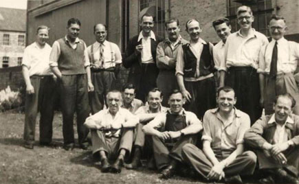 The group photo comes from 1955 when Harold was working in the erecting hall: he is third from the right in the back row.
