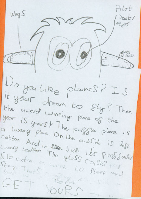 Year 5 had a creative writing workshop with Claire Williamson in June. They created information posters advertising the aircraft they had invented.