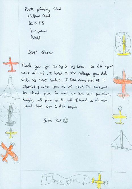 The pupils also had a day of collage-making with Gloria Ojulari Sule and wrote some beautiful thank you letters.