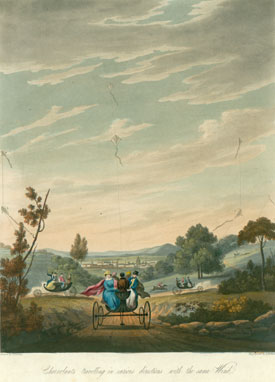 'Charvolants travelling in various directions with the same wind' from George Pocock's The Aeropleustic Art, or Navigation in the Air by the use of Kites or Buoyant Sails, 1827 (Special Collections, Bristol Central Library).