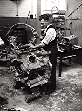 Man working on Centaurus casing, c 1950s (Rolls-Royce plc).