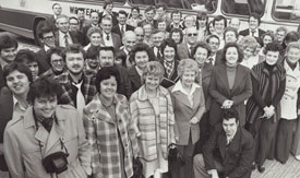 Employees and family at start of journey to Cape Canaveral for GEOS launch, 1977.